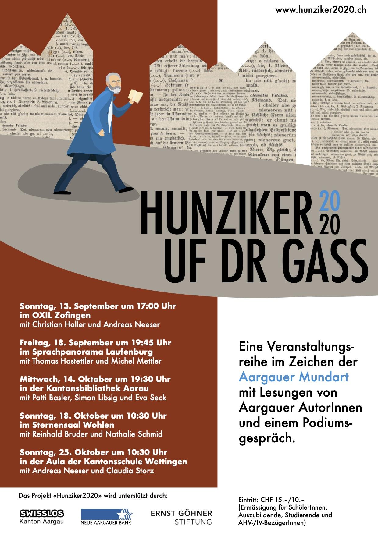 Flyer zu «Hunziker2020 – Uf der Gass», entworfen von Anja Seiler